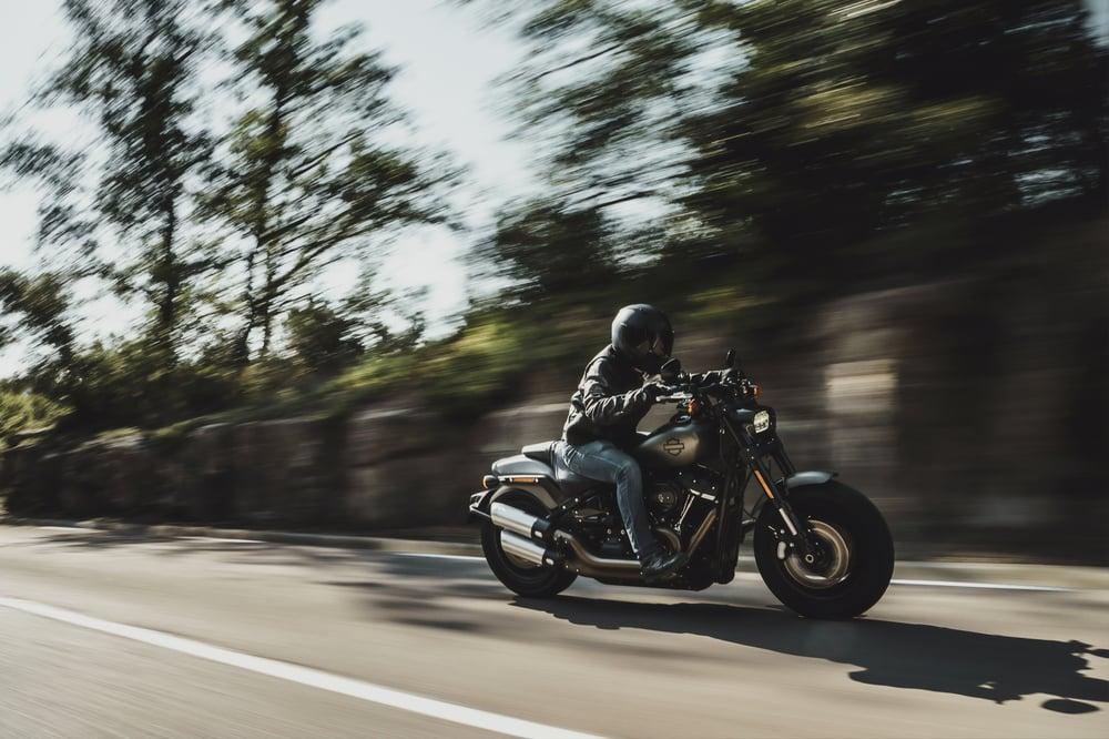 Harley Davidson motorcycle going fast